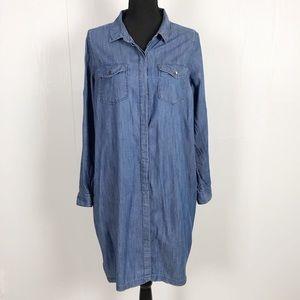 Maternity Denim Chambray Button Front Dress